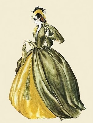 original sketch by walter plunkett for GWTW-THE GREEN CURTAIN DRESS!!