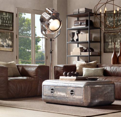 Fulham Leather Sofa by RESTORATION HARDWARE