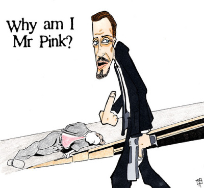 "krissyeliot:  My gangster counterpart; no ifs, ands, or buts. Mr. Pink: ""Where's the commode in this dungeon? I gotta take a squirt."""