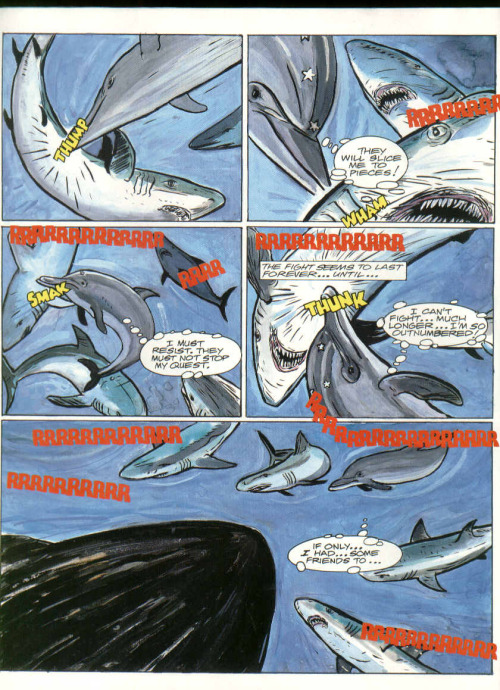 "A page from part 1 of the first story ""Ecco the Dolphin"", released inSonic The Comic (UK) issue 13 on 13. Nov. 1993.You can download the whole comic here"