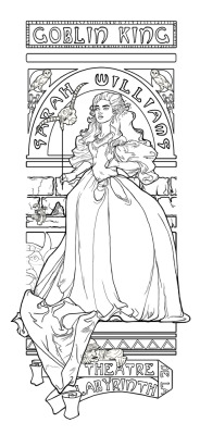 line work for an art nouveau piece, inspired by Jim  Henson's Labyrinth and Alphonse Mucha's Gismonda. Color version coming  soon….. drawn in pencil, scanned and re-drawn in Photoshop print available here: http://www.redbubble.com/people/khallion/art/7378911-theatre-de-la-labyrinth view progress pictures here:http://www.facebook.com/media/set/?set=a.101502…