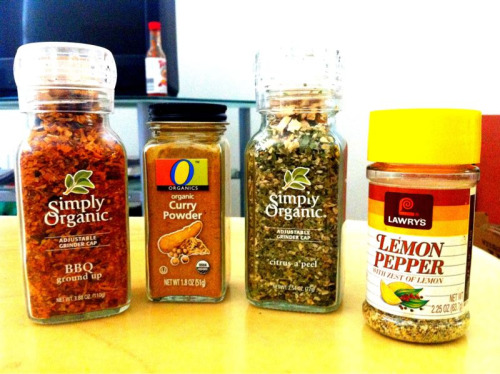 Favorite Seasonings Prepared sauces add extra calories, artificial ingredients, and high fructose corn syrup. However, if you do not have time to prepare your own homemade toppings, try adding seasonings to make your dishes more savory. They add virtually no extra calories and are plenty flavorful! Stock up when the spices are on sale at your local grocery store! Ideas: Lemon Pepper Seasoning: Spread on baked salmon or halibut  BBQ Seasoning: Great on steamed vegetables  Curry Powder: Used for curry tofu  Citrus a' apeel: grown on top of quinoa
