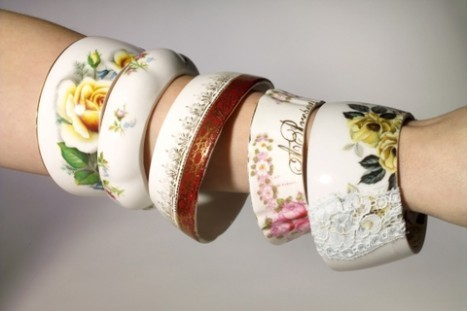"genius-idea:  Make lovely bangles from old tea cups!  $49 will get you ONE.  If you, or someone you know, is handy with a wet-saw, you can make this yourself (yea, maybe that's a big ""if""). Alternatively, if you have a glass cutter, you can score around a glass tea cup a few times to make it snap. Please be safe if trying this!!!  lol, it had to be said."