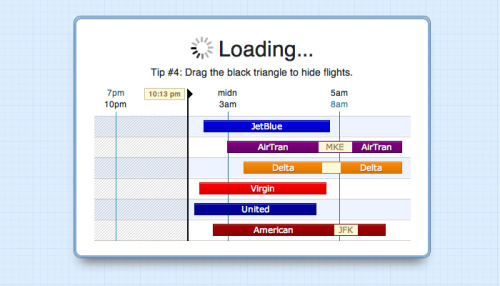 thegodfounder:  Hipmunk (@thehipmunk) uses its loading times to display tips on how to better use their tool.