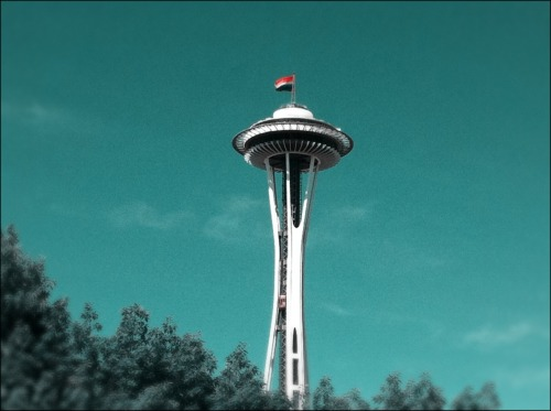 Flag on Space Needle in