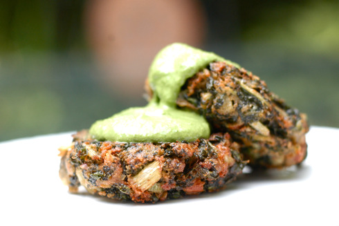 Swiss Chard Cakes with Basil Spinach Sauce