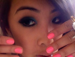fluro pink nails and hi my eyes are interesting