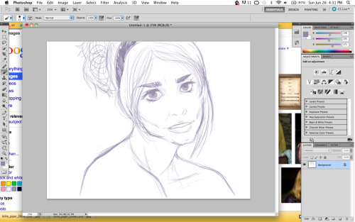 beginning sketch of billie piper, inspired by an outfit she wore as rose tyler. i love this woman.