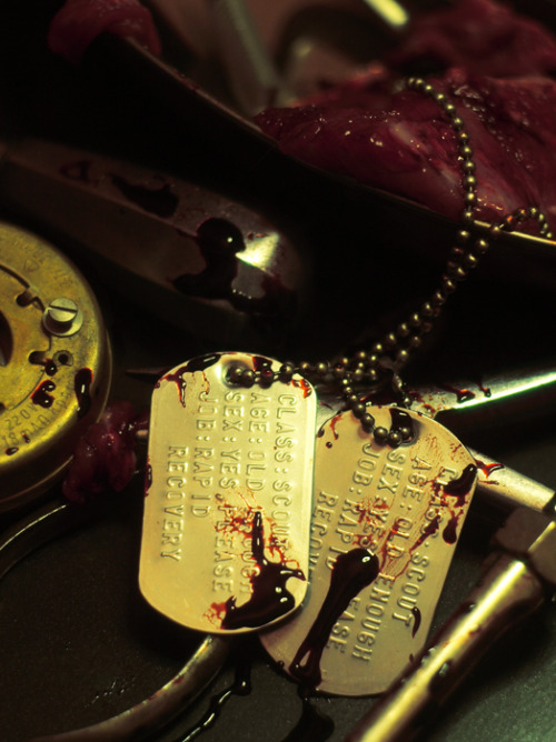 writingcyan:  bloodyspook:  Rotzlöffels most adorable Dog-Tags.And pieces of her..here and there…Damn much inspired by Meet The Medic.  I found these dogs-tags in the Meet The Medic tag and they made me laugh; if Scout was allowed to design his own tags, they would say 'age: old enough' and 'sex: yes, please'. I was actually looking for close-ups of the image of Medic's office that was hidden in the Über Update; I'm sure I've seen high-resolution crops of the posters on his wall and I need them for reasons. Does anyone know where to find them?