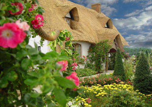A cute thatched cottage in the English countryside (via World Travel)