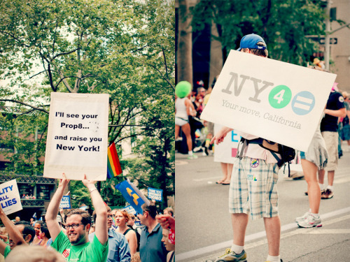 Your move, California. NYC Pride Parade 2011. Being from LA during the whole Prop 8 debacle, then being in New York for the historic vote on the 24th, these signs (and others like them) hit home.