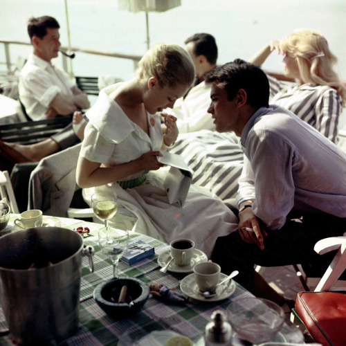 alaindelon:  At Cannes with Romy in 1959.