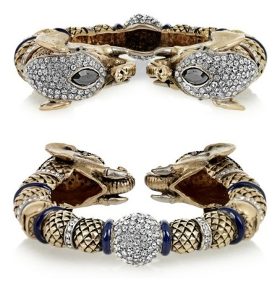 This Roberto Cavalli crystal elephant bracelet is glamourous and exotic. I would wear it with a sexy cocktail dress or even with a casual outfit of dark jeans and a white shirt. - Nathalie