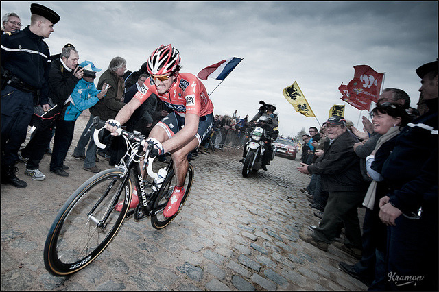 Fabian Cancellara winning Paris-Roubaix by kristof ramon on Flickr.