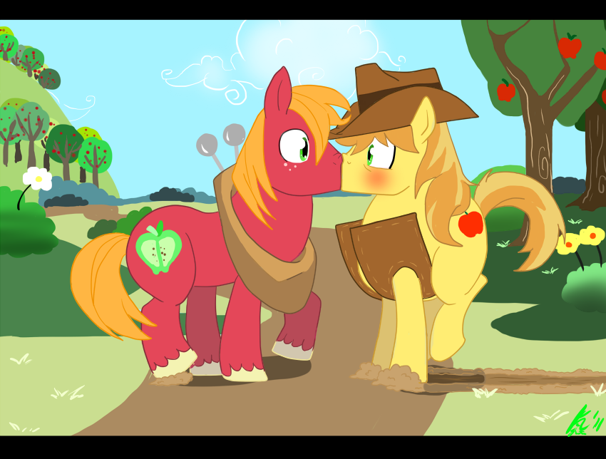 fnomlpfans:  The art isn't bad at all, but Braeburn and Big Macintosh are COUSINS for God's sake.  Must… not… make… kissing cousins… joke…