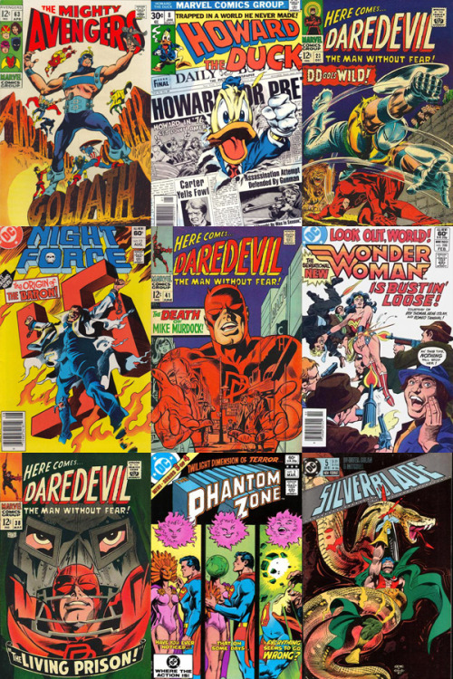 calamityjon:  Twelve of My Favorite Gene Colan Covers: In respect of the memory of the recently passed Gene Colan, I present twelve of my favorite covers from his career. Mind you, I don't know that these are all my absolute favorite Colan covers, but just twelve that immediately came to mind. Amazing work, every one. The covers, in order from left to right in descending rows, are: Top: Avengers #63, Howard the Duck #8, Daredevil #23Middle: Night Force #13, Daredevil #41, Wonder Woman #288Bottom: Daredevil #38, The Phantom Zone #3, Silverblade #5 I could've listed another dozen Daredevil covers alone, and I didn't even get to Captain America, Dracula and Doctor Strange.
