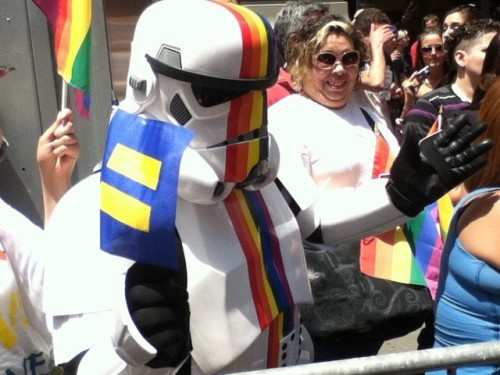"inothernews:  ""This is the equality we've been looking for."" (Photo of a Star Wars'd spectator during New York City's LGBT Pride March on Sunday by Chris Boscia via the New York Daily News)"