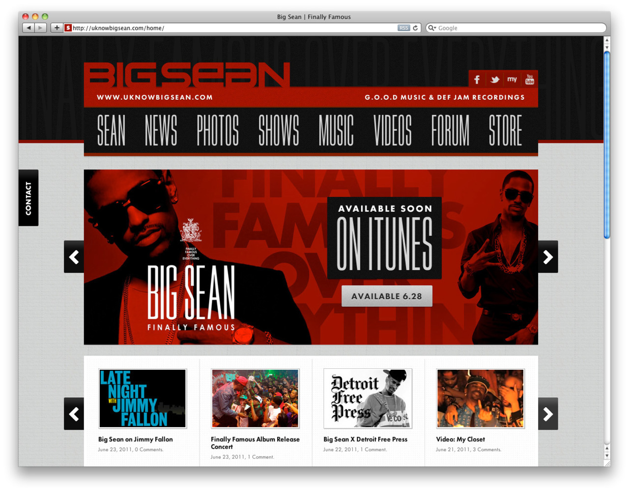 Just launched the Official Website of Big Sean, from Kanye West's label G.O.O.D. Music. http://uknowbigsean.com/home/ Design, code, everything by Create.ph.