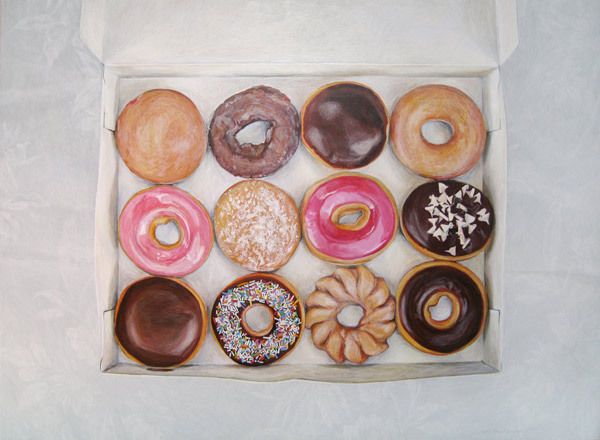 Krispy Kreme Dozen. So realistic, I want to eat them!  Apparently giclee prints coming soon. I want, but I have no more space on my walls! :(  by Joel Penkman.