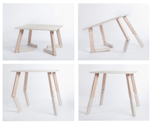 BAMBI - From Caroline Olsson, an adjustable two-height table with legs that fold back underneath the table instead of telescoping.