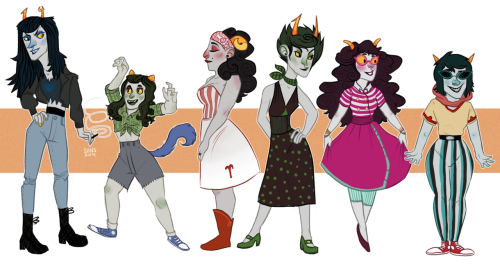 50sstuck troll girls are finally done ahhhh. hopefully i'm doing the guys tonight (ogod derp) and maybe even stream how i colour them tonight too yeee like i did with these gurls. anyways, i love the 50s i love 50s!stuck and i just aaaa, i hope you enjoy this and please HI RES aaaa tumblr will probably resize it all awkwardly