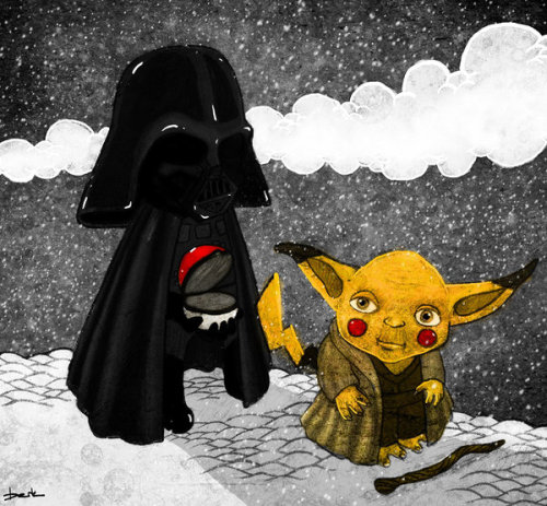 "Star Wars and Pokemon together as one in Berk Ozturk's newest illustration. ""Pikayoda, I choose you!"" Related Rampages: Angry Birds Evolution 