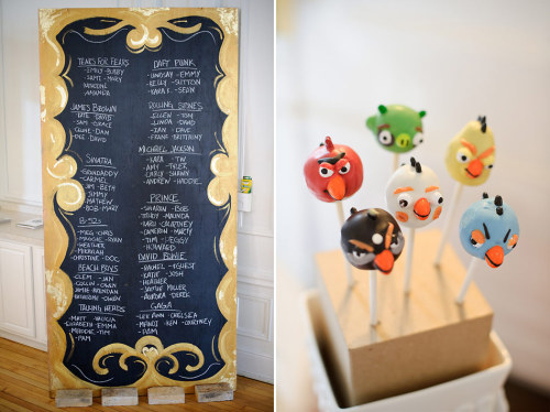 another from emily porter's wedding… i love their seating chart, the names for the tables were bands/musicians and they had angry birds cake pops!