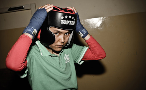 "thedailyfeed:  Afghanistan's female boxers are defying the odds in their Olympic quest:  ""We have just a few weights, no modern equipment, no physicians, no sports nutrition,"" coach Mohammed Sabir Sharifi said recently from a dusty training room in Kabul's Ghazi Stadium, the official training ground for the Afghanistan Women's Boxing Team. ""Security is still not good in Kabul,"" he added. ""If the Taliban got hold of these girls, they would shoot them on the spot."" In fact, less than 10 years ago, the Taliban held public executions on the very same soccer pitch just outside the training room.   A really cool thing."