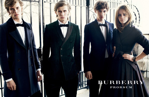 burberry f/w 2009 | ph: mario testino models: tom guinness, nick wilson, charlie france & emma watson