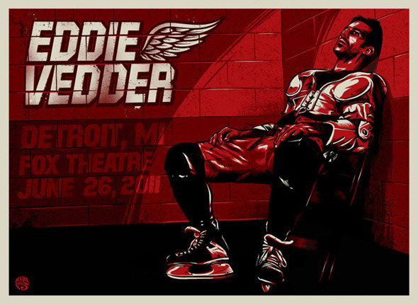 Eddie Vedder tour poster from Sunday night's show in Detroit (Via Houses of the Hockey)