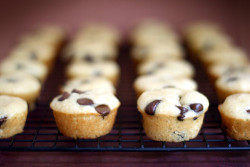 Mini Maple Chocolate Chip Pancake Muffins. 1 cup flour1 teaspoon baking powder1/2 teaspoon baking soda1/4 teaspoon salt2 tablespoons sugar2/3 cup buttermilk1 egg2 tablespoons pure maple syrup2 tablespoons melted butter1/2 cup milk chocolate chips Preheat oven to 350 degrees. Combine flour, baking powder, baking soda, salt and sugar in a medium bowl. Sift together with a wire whisk. In another bowl, stir buttermilk, egg, maple syrup and melted butter until just combined. Add wet ingredients to dry ingredients and stir with a spoon until combined. Stir in chocolate chips. Reserve a few chips to sprinkle on the tops. Bake for 8-9 minutes. Makes 24 mini pancake muffins. Let cool slightly and remove from the pan. You may need to use a toothpick around the edges to separate the pancake muffins from the pan.Serve immediately with warmed butter if you like or even just with maple syrup.