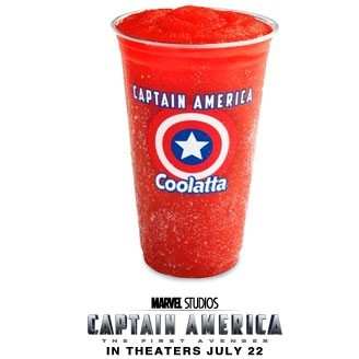 "Red, White and Bleagh: The Captain America Cherry Coolata. Now and then, despite my mad love for all things flavorful and carbonated, I'll drop all rules and guidelines and expand my liquid definitions (""liquifitions,"" for short). Thus, beverages that clearly aren't soft drinks slip into the ranks of those that are—Snapple's soda variations, for instance, or frozen drinks like Slurpees. While I wouldn't necessarily refer to a Slurpee as soda, it's a grey enough area that mentioning those icy cups of wet heaven isn't a stretch for this blog (though using ""grey area"" when discussing Slurpees tends to offer up visions of ashy, textureless flavors).  In addition to the above qualifier, let me unequivocally state the following: sometimes— but not often—soda sucks. I don't mean in the ""soda makes you fat/will kill you/rots your teeth"" way (which it does/it might/you bet) but in the sense that, yeah chief, this drink you're giving me is flat-out AWFUL. Like I said, the Bad is pretty rare—I tend to enjoy most flavors and variations. The few, the proud, the terrible on my Least Five are as follows: 1) Dr. Brown's Cel-Ray Soda (I don't eat celery when it ISN'T liquified) 2) Faygo Chocolate Crème Soda (the clear loser in the Faygo portfolio, now discontinued) 3) Pepsi Jazz (coffee flavored soda? No thanks!) 4) Jones Soda Co. Thanksgiving Dinner Soda (pretty self-explanatory) 5) New Coke (though, truth be told, I'm kind of curious to try it again now that I'm an adult) Both of the above paragraphs lead me to this weekend's ill-fated frozen folly. Blocks from SodaBlog HQ, conveniently offering a pretty quick drive-thru window, rests a join Dunkin' Donuts/Baskin Robbins (man, I hope there aren't any nutritionists lurking about this blog—they'd no doubt be tossing up their arms in disgust at this point, washing their hands of me and mine). While Mrs. SodaBlog enjoys the occasional DD coffee, I never touch the stuff and when out and about on a weekend with the kids, the two of us sometimes swing through for an on-the-go drink or breakfast. Sitting on line the other day, waiting to shout orders into the OrderBot 6000, my eye wandered to the colorfully perspiring photos of Dunkin' Donut's Slurpee knockoff: the Coolata. Adjacent to their Coffee Coolata (an iced coffee stand-in, I'd imagine?) DD offers the following standards: Blue Raspberry, Tropicana, Vanilla Bean, Strawberry and now, Mountain Dew. Figuring ""well, Neil likes Mountain Dew. Neil likes Slurpees and/or Slurpee-like drinks"" Mrs. SodaBlog and I quickly decided I'd give their wares a try. My first sip of the Mountain Dew Coolata was…well, it was cold but not exactly Mountain Dew. The normally distinctive Dew taste got lost in an unnecessary amount of water and ice resulting in a very watered-down, somewhat flat bottle of Mountain Dew left in the freezer for five hours. Clearly, though, my opinion had merit. Slightly disappointed, I dutifully finished the cup and vowed to try another flavor at some point in the future. Fast-forward to yesterday, driving home from dropping Mrs. SodaBlog off at work and jonesing for a drink. Earlier in the week I'd walked past a DD on my way to the subway and noticed their timely partnership with Marvel Studios: for a limited time, Dunkin' Donuts offers a cherry Captain America Coolata, tying in to the July release of CAPTAIN AMERICA: THE FIRST AVENGER, a film I'm very much looking forward to.  Sitting on line yesterday, waiting to shout an order into the OrderBot 6000, my eye wandered to the colorfully perspiring photos once more and threw my mighty shield to the wind. I had vowed to try another Coolata and, having written a Marvel comic (and hoping to write more), chose to be a Company Man and give ol' Cap a try. The cup—clear, plastic and emblazoned with the film logo and a stylized shield—held a thick, slightly watery yet near-bloody red beverage with a straw piercing the top. Pulling free of the drive-thru, I took a sip…and instantly froze my brain.  ""Brain Freeze""—or, as known by its medical term Spheno Palatine Gangleoneuralgia—is the result of the constriction of blood vessels in the stomach when put in contact with cold fluids. The pain felt in the head does not actually occur in the head at all but diverts from the stomach to a nerve in the head which receives this particular pain. This process is similar to pain in your left arm while having a heart attack. Which I was also having, by the way, because the amount of sugar dumped into my Coolata was like a shot of adrenaline to my entire system. Every sticky sweet, freezing cold, distinctively RED sip of the Captain America Coolata pierced both heart and skull, immobilizing me for a brief moment as I prepared to bolster my guts and take another. The cherry taste of the drink overpowered any other along my palate and I nearly felt to urge to heave the contents of my mouth—much like Steve Rogers' famed shield—all along the length of the SodaBlog Family minivan. ""Terrible"" would be spinning it politely. ""Undrinkable"" hit the target more accurately, for after the fourth attempt and a rush of pounding drums to my cranium married with tense, shaking utensils I once called ""fingers"" forced the expulsion of the remainder of the cup into the nearest trash receptacle. To wit, I tossed that mother out. Recovering the use of both my extremities and circulatory functions, covering the tangy, syrupy taste in my mouth with a slug of Coca-Cola, I silently vowed from hence forward to steer clear of frozen drinks that don't include the trusted numbers seven or eleven. Fool me once, Dunkin' Donuts, shame on me. Fool me twice and I'm buying Krispy Kreme donuts with a Cherry Coke Slurpee. And as for Captain America? He'll live to fight another day—both on the printed page and vivid celluloid. Besides; any Cap fan knows red's the color of the enemy…and despite the machinations of licensing executives across the land, when push comes to shove and soft drinks are a-plenty, Steve Rogers puts his trust in a simple glass of clear, cold milk."