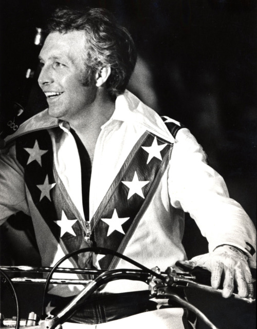 Evel smiles after a record-setting jump of 17 trucks at the Memorial Coliseum in Portland in March of 1974. Photo by Dale Swanson - The Oregonian, March 30, 1974.