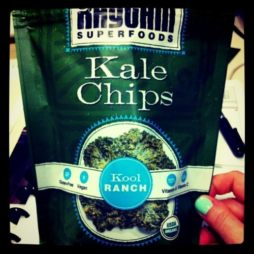 "Work snacks - Kale chips in ""Kool Ranch"" #vegan (Taken with instagram)"