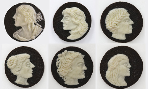Via laphamsquarterly:  Oreo cameos and other brilliant food art from Judith G. Klausner. (via Kristen Butler)  Amusing.