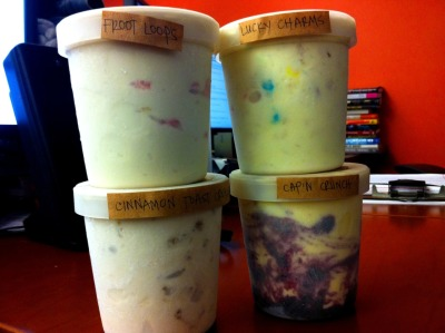 today:  Now in the TODAY office: The MilkMade sugar cereal ice cream collection (Froot Loops, Lucky Charms, Cinnamon Toast Crunch & Cap'n Crunch). And yes, theyre as good as they sound.  This.