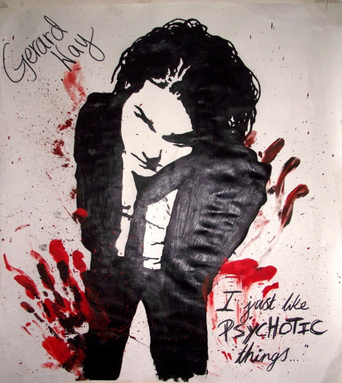 """I'm not psychotic, I just like psychotic things"" - Gerard WayUm, I think they call this A3.. Not sure, cut the paper myself (': So uh, I present to you, the fabulous, sassy, Mr. Gerard Way; in acrylic. I used the worlds worst paint brushes ¬¬ So, it fucked up quite a bit, hence the redness (add 'blood', call it my unique style like everything else.) >.< http://sparkalingcyanide.deviantart.com/art/I-Just-Like-Psychotic-Things-215309829"