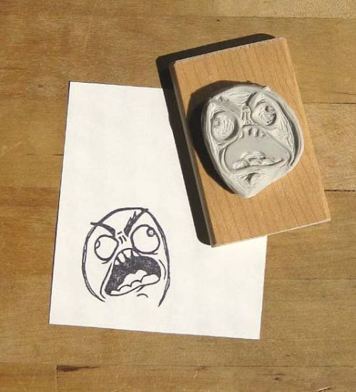 amorningcupofjo:  RAAAAAAAAAAGE!! Hand-carved stamp by Extase. :P  How AWESOME!