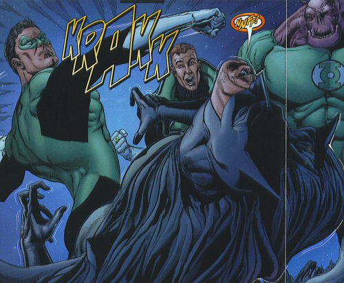 Ethan Van Sciver depicting Hal Jordan losing his patience talking to Batman while a few other Lanterns look on.