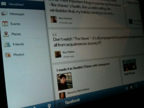 TechCruch is reporting that the first tablet Facebook app is coming not to the iPad but to HP TouchPad…  False TechCruch, the RIM BlackBerry Playbook had the first Facebook tablet app.  Nice try though…