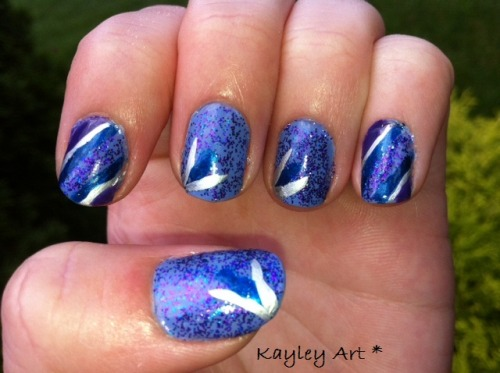China Glaze- Secret Periwinkle Finger Paints- Artistic Azure Orly Instant Artist- Platinum Orly- Charged Up Sally Girl- Purple and blue glitter