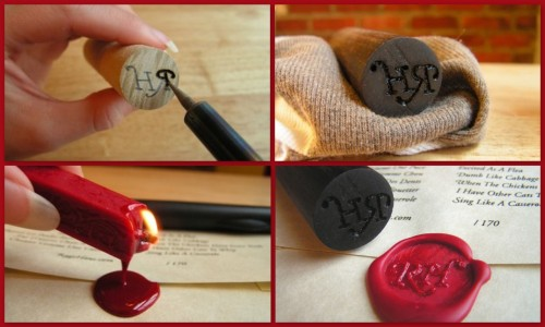 Wooden Wax Seal. Tutorial from Ragehaus. I strangely enough had sealing wax and letter seals growing up, so this would appeal to me. *Edit: new tutorial they did for Design Sponge on Flickr here.
