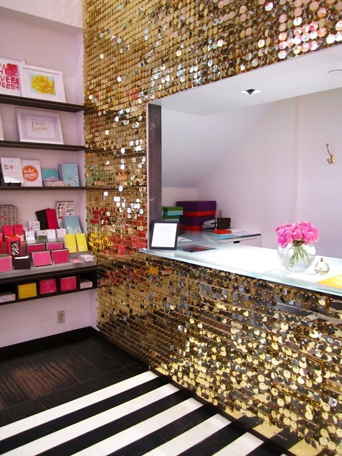 poolsandpearls:sequin wall at kate spade, soho