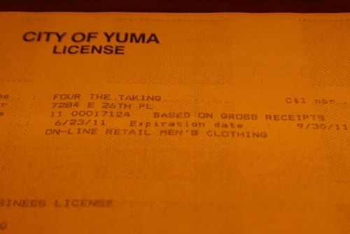 Four The Taking has a business license. Now it's time to get some shirts!