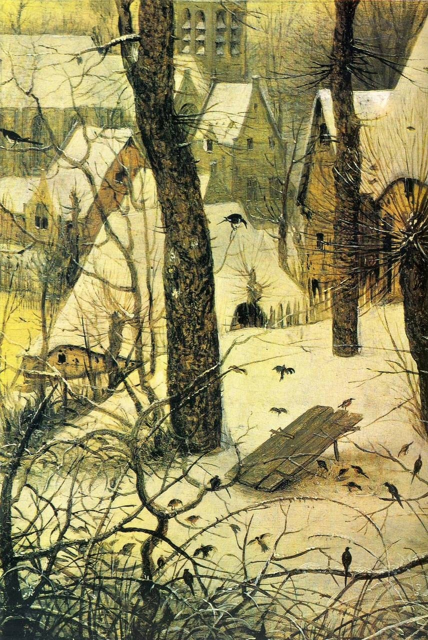Peter Bruegel, Winter Landscape with Bird Snare (detail), 1565