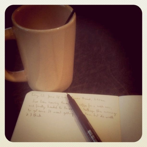 Panera Bread at 7am, plus Moleskine. Have been craving their coffee lately, and so far it's been a perfect morning.