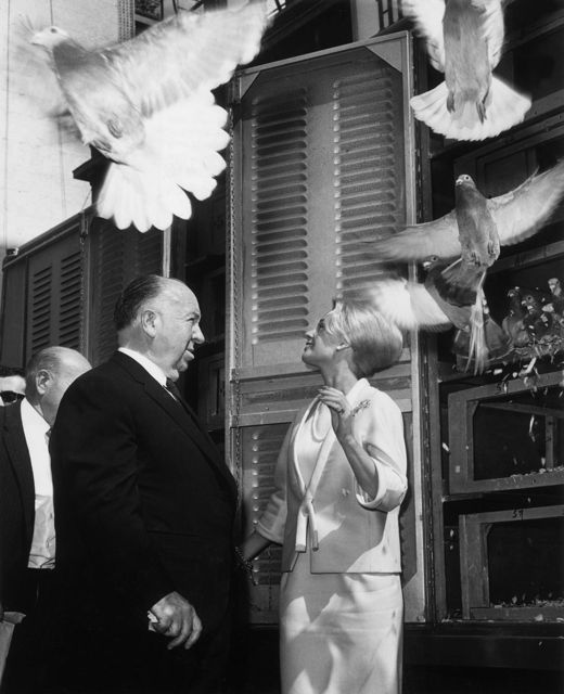 ontheset:  The Birds (1961) — Tippi Hedren with Hitchcock.