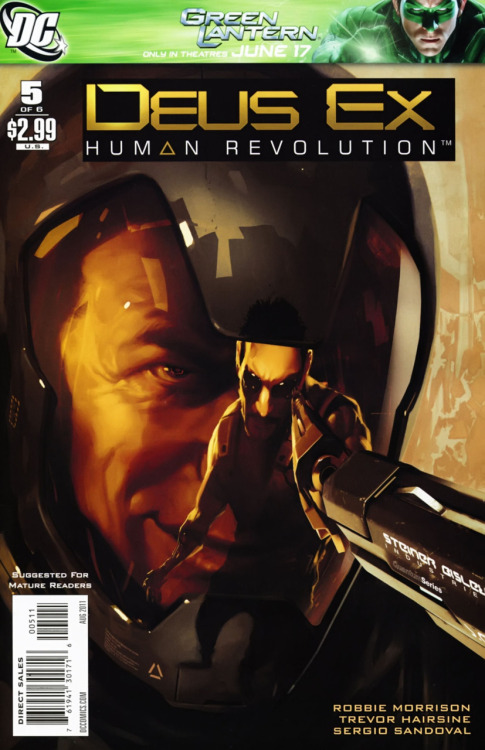 Deus Ex #5  Overall Score 8.5/10 Deus Ex #5 was better than the previous issue. It had more action, which the Deus Ex series is known for, plus more of the potent dialog that is closer to the game. The flashback that starts the comic is pretty well done and shows more of the past between Adam and Quincy. This serves to show more of why Quincy hates Adam and some of his motivation for the rampage he has been on since this mini-series started. Also,  I liked the cliffhanger ending because it makes me want to read the final issue more, though I know that certain people will not die because have been shown in the game already, which kind of cheapens the potential shock value. Overall, the issue did a decent job, but it still had room for improvement. Let's see how the final issue turns out.