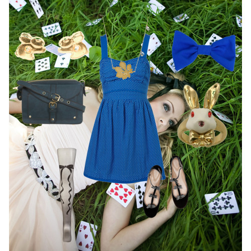 Alice in Wonderland by Disney Style featuring zipper jewelryWal G dot dress, $68Sheer black stocking, $18Chloé ballerina shoes, $850Miss Selfridge green bag, £24Disney Couture zipper jewelry, £29American Apparel gold jewelry, $50Wendy Mink chain jewelry, $148American Apparel hair bow accessory, $14