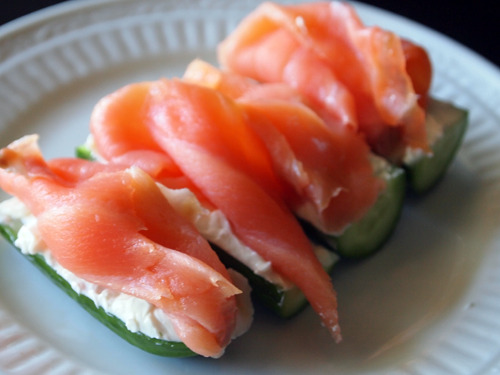 nova lox on a baby cucumber with neufchatel.